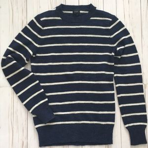 J. Crew Men's Crewneck Sweater Stripe Navy XS Blue